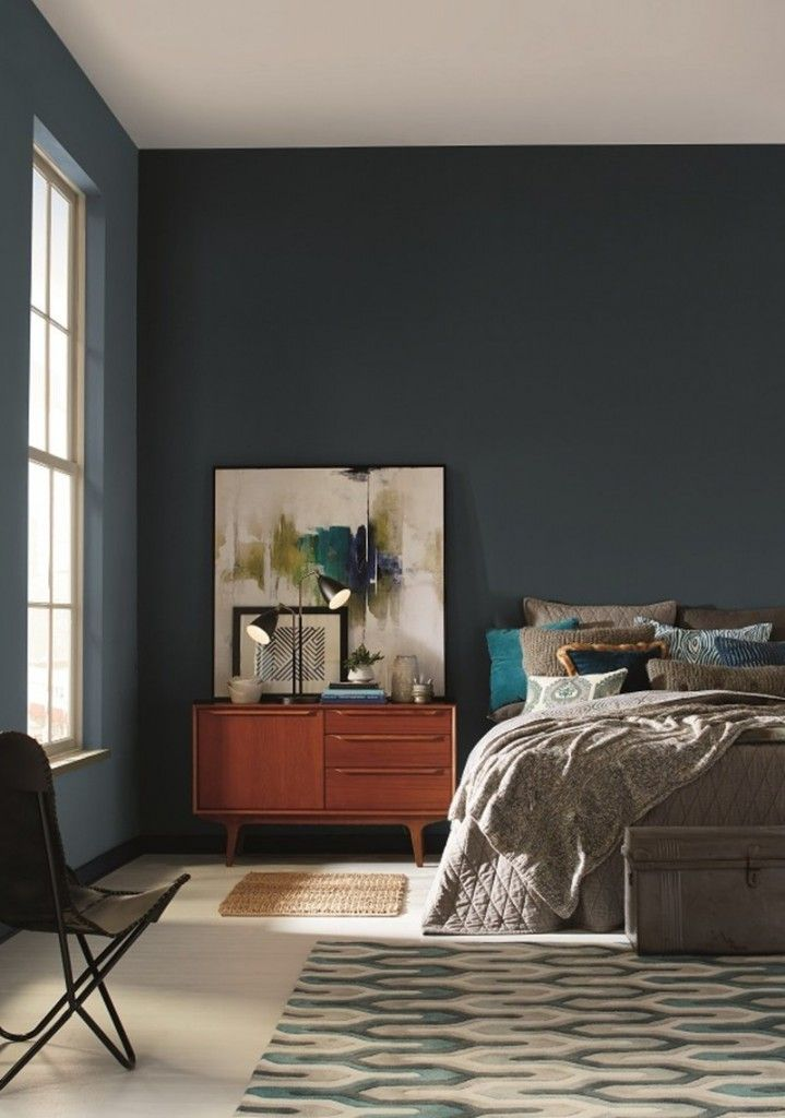Cool Mid Century Modern Bedroom For Easy Living Painted With Pratt And Lambert S Color Of The Year Paint Called Heron Euroluxhome Homedecor