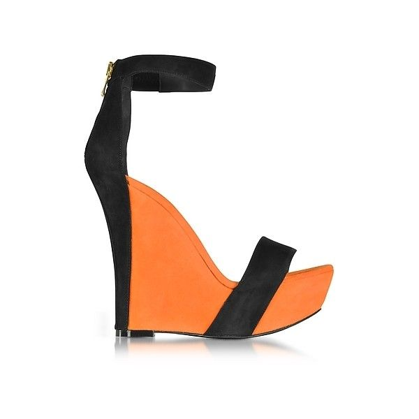 Balmain Shoes Samara Orange and Black Suede Wedge Sandals ($560) ❤ liked on Polyvore featuring shoes, sandals, orange, open toe sandals, wedges shoes, ankle strap wedge sandals, ankle wrap sandals and black suede sandals