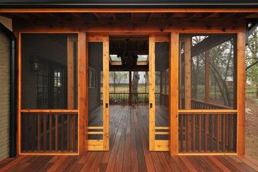 craftsman screen porch with pocket/barn doors in Candler Park