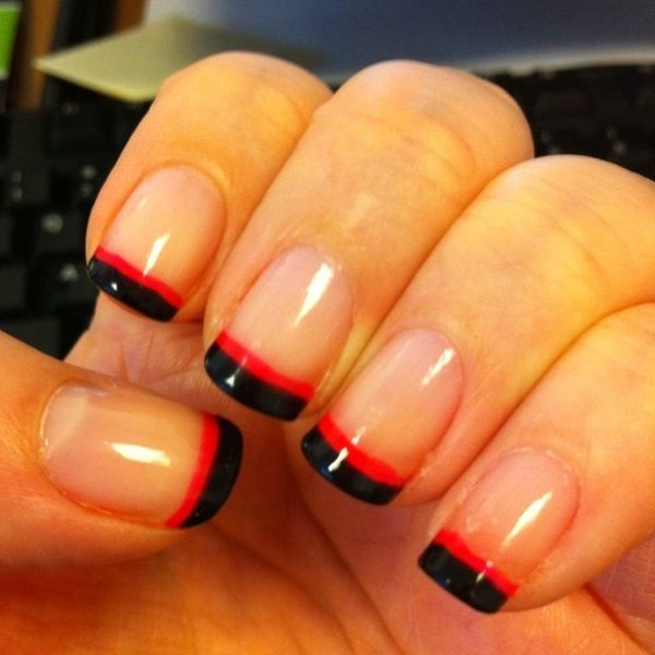 Black and red French manicure..