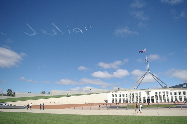 """Juliar"" written in the sky over Parliament House in #Canberra to protest Australian Prime Minister Julia Gillard's flip-flop on implementing a #carbontax 