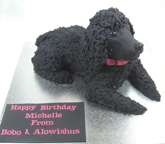 Black poodle 3D Birthday Cake by www.carryscakes.com.au