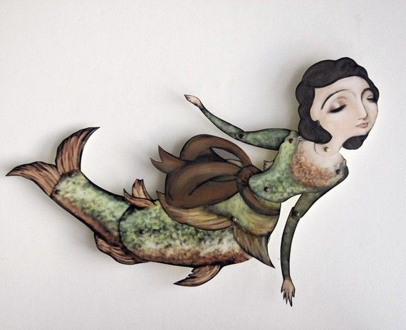 Paper Puppet Doll Mermaid Fish Lady by crankbunny on Etsy, $20.00 (In a shadowbox for Meg)