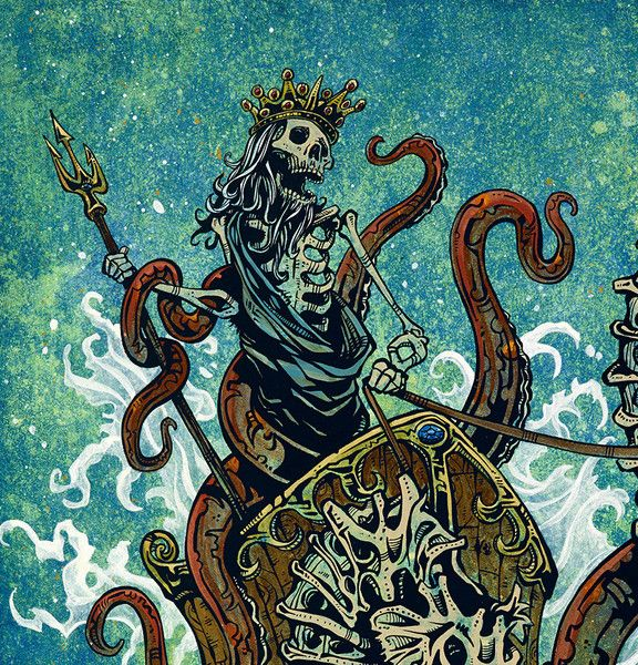 Skeleton Neptune and his mighty sea steeds smash though the breakers on their way to Circus Flaminius. Painting Process Alternating shades of yellow and blue acrylics were used to create a watery atmo