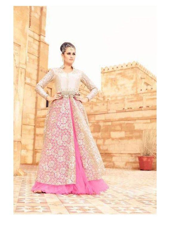Pleasing Pink and Beige Lehenga Kameez