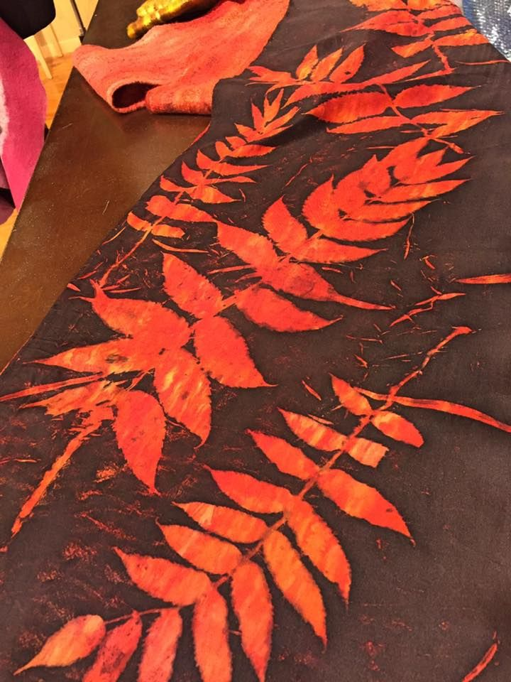 Eco-printing and dyeing with sumac leaves -- Robbin Firth's HeartFeltSilks dyeing and feltmaking studio in Wisconsin