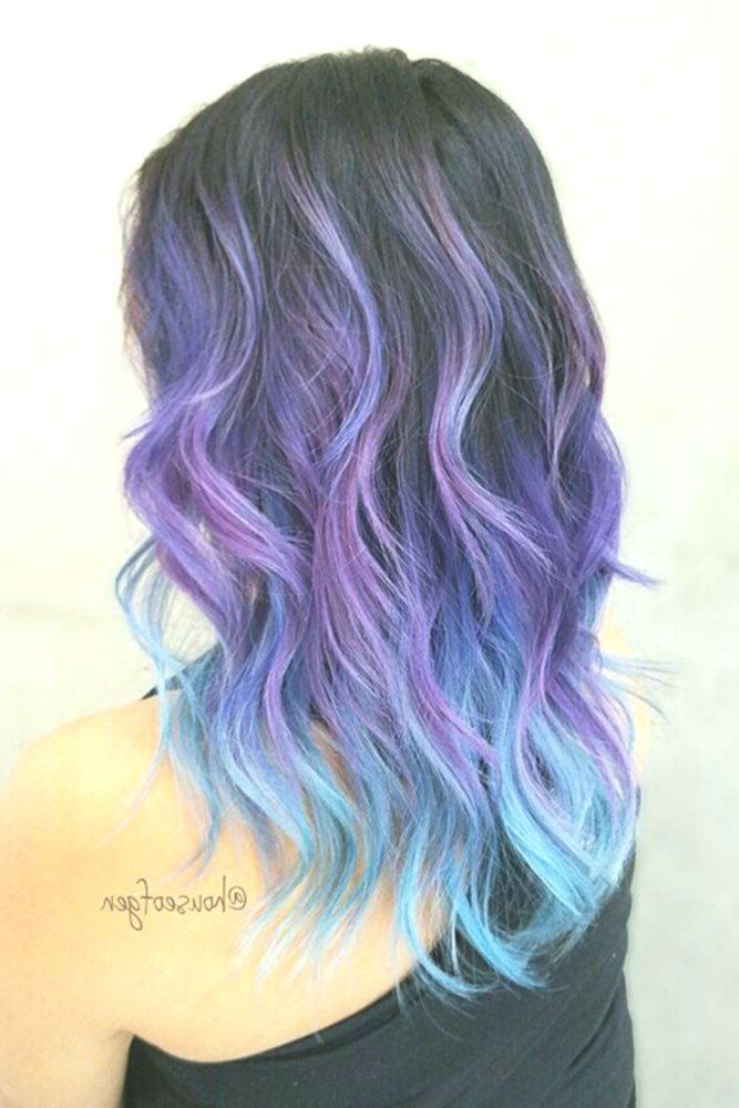 From Dark Purple To Light Blue Ombre Hairstyle Wavyhair