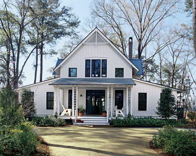 adorable cottage houseFarms House, Floors Plans, Lakes House, Southern Living, Dreams, Cottages House, Black Windows, White Plain, House Plans