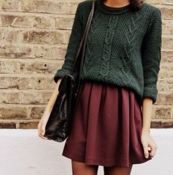 Big knits with skater skirts. A really nice 70s autumnal look.