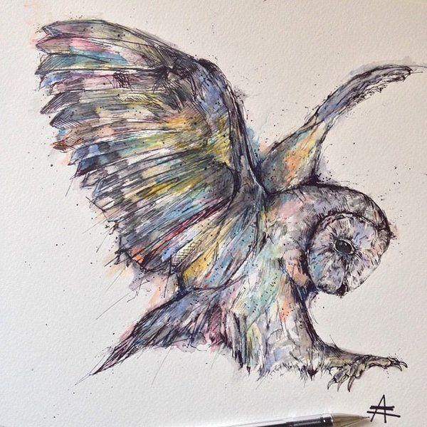 Owl watercolor + Ink by alfredbasha.deviantart.com on @deviantART