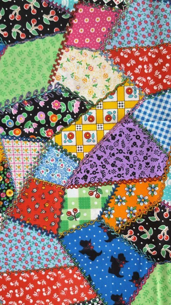 Mary Engelbreit Cranston Fabric Crazy Quilt Bright
