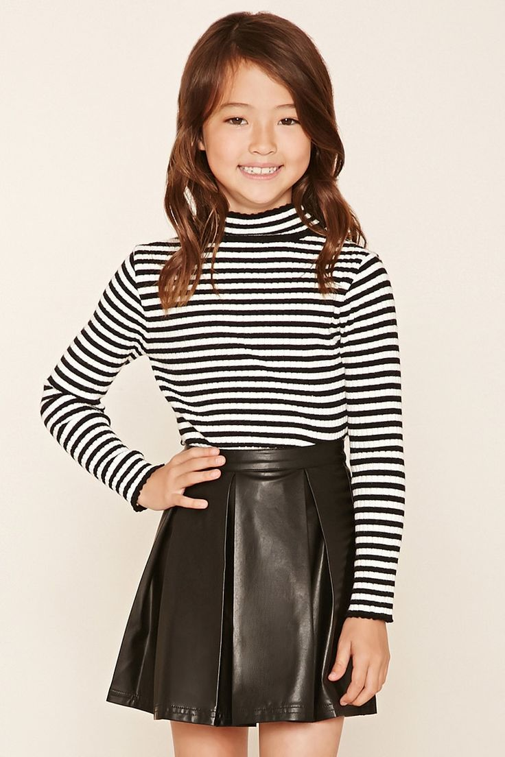 Girls Faux Leather Skirt (Kids) Kids outfits, Cute girl