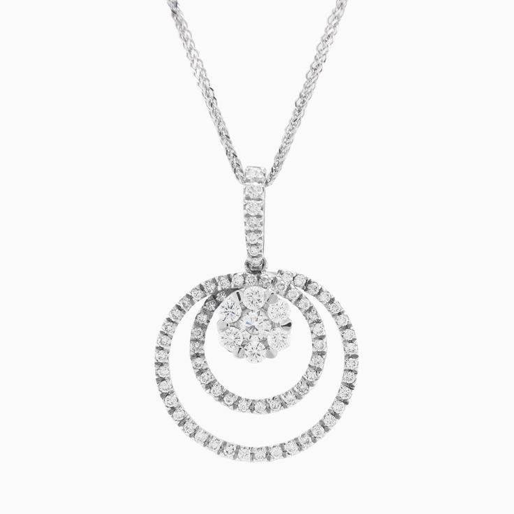 Elegant pendant made in 18k white gold featuring round brilliant cut diamonds weighing 0.68ct and comes with 42 cm chain made in 18k white gold.