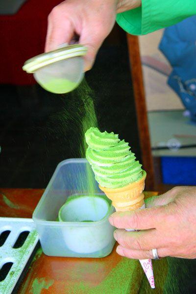 Japanese Matcha green tea powder soft ice cream, Uji Kyoto