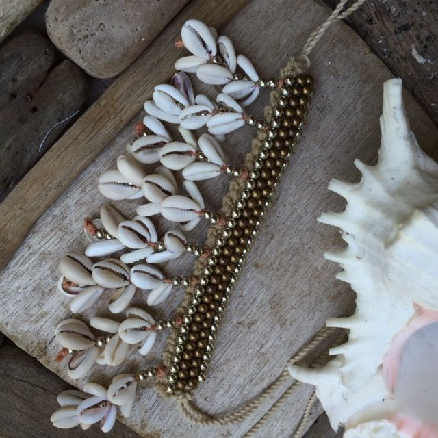 handmade with cute shell drops can be worn as an anklet cuff necklace or armband