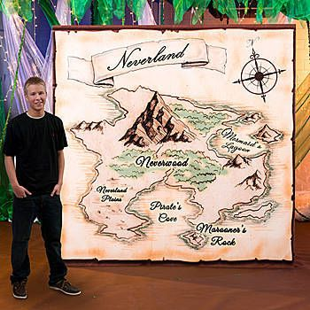 Our Neverland Map Background Standee has the look of a map of Lost Boys and pirate ships.