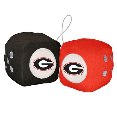 "Georgia Bulldogs 3"""" Plush Fuzzy Dice"