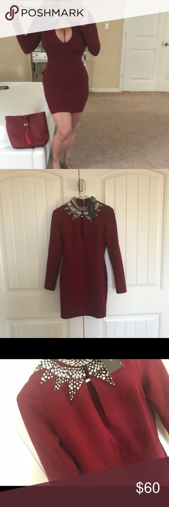 New with tags long sleeve burgundy dress Brand new with tags   Really good quality  Really stretchy and thick material  * really thick good quality spandex type   Beautiful burgundy tone with silver stones   Price is firm  Comes sealed in package  The one in the picture is a medium   1small 1medium 1large Dresses Mini