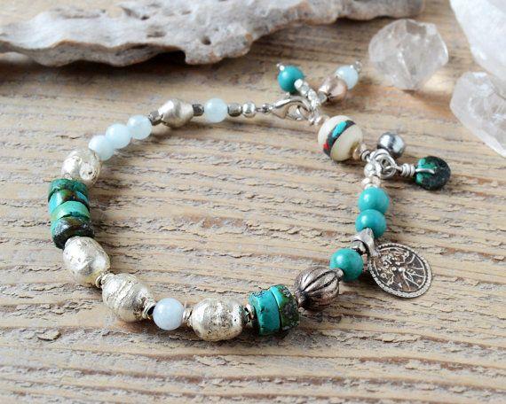 Shiva yoga armband yoga jewelry turquoise en antieke door OmSaha