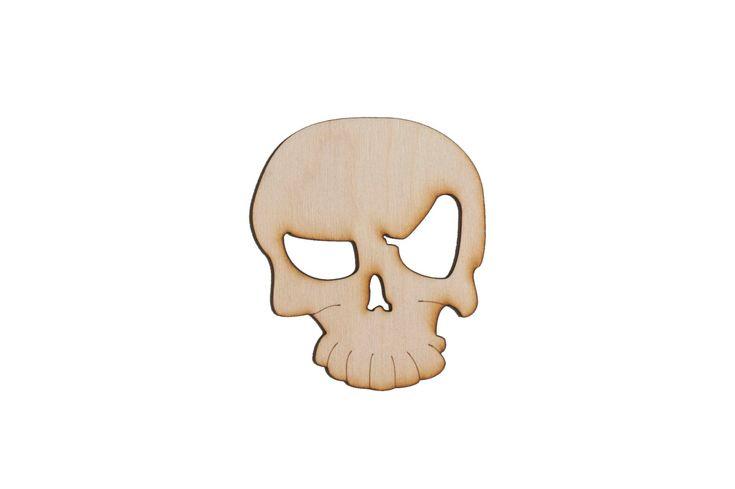 Wooden Skull Logo - Halloween Laser Cut Plywood Craft Supply - 1x 4in (10.16cm) Skull Logo