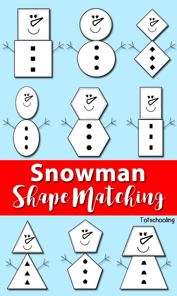 Creare pupazzi con le forme - FREE Snowman shape matching activity perfect for toddlers and preschoolers to learn shapes with a Winter theme.