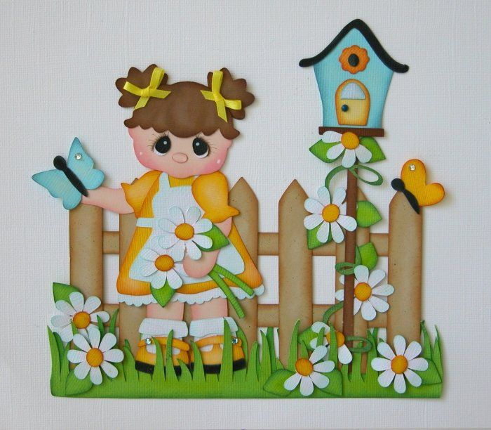 MOMZ MP2G SUMMER GARDEN GIRL Paper Piecing for Premade Scrapbook Pages | eBay