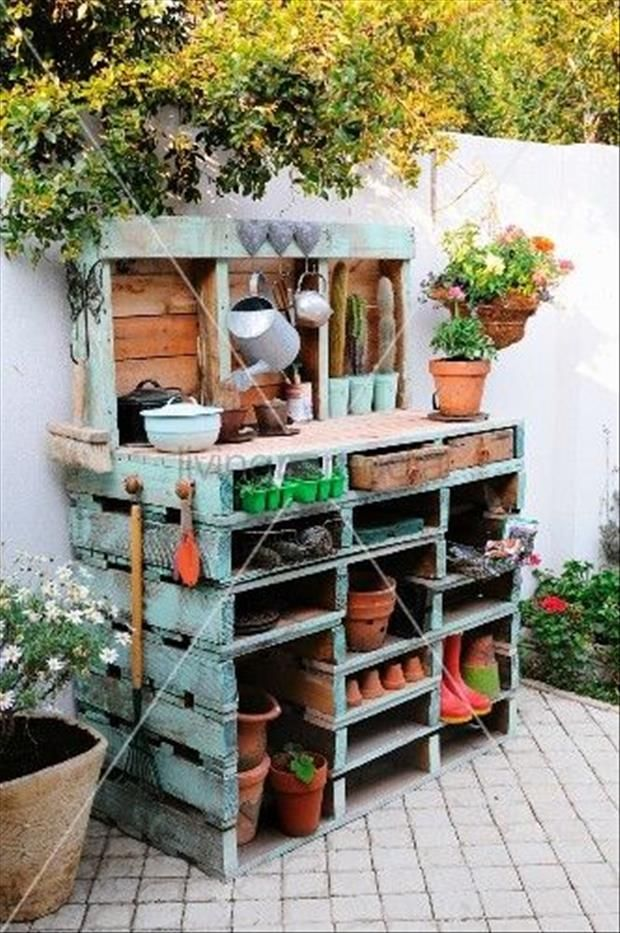 Repurpose an old pallet into a gardening potting bench****Follow our unique garden themed boards at www.pinterest.com/earthwormtec *****Follow us on www.facebook.com/earthwormtec for great organic gardening tips #repurpose #pallet #garden