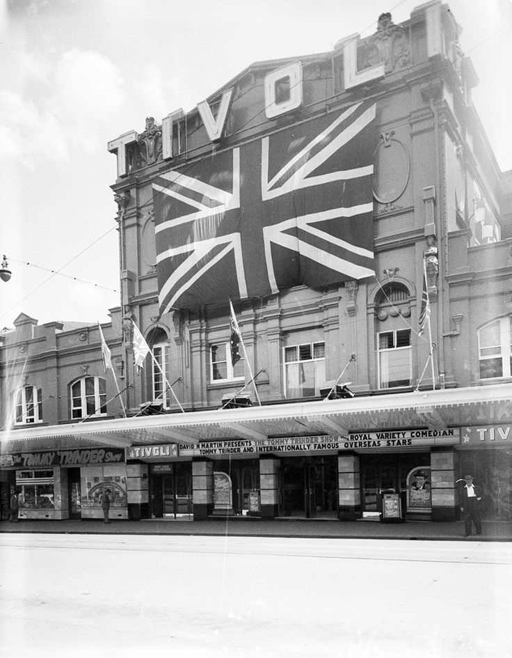 New Tivoli Theatre,near Central Station in Sydney,decorated for the Royal Visit in 1954.A♥W