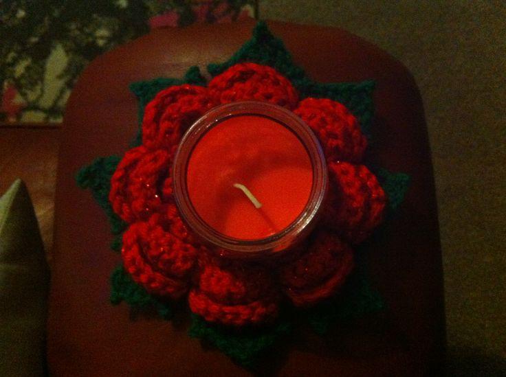 Pointsettia Rose Crochet Candle Holder Crochet