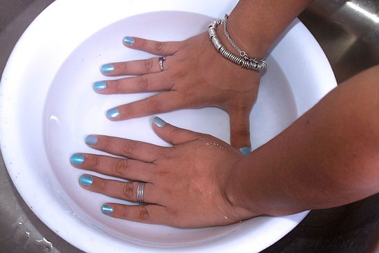 How to Dry Nail Polish Quickly:Submerge wet nails in cold water for 3 minutes. The polish will dry completely, and it gets rid of any that got onto your skin! MUST TRY