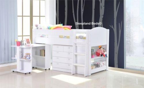 Full-White-Mayfair-Midsleeper-Bed-Childrens-Cabin-Bed-Desk-Storage-Bookcase