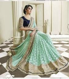 Buy sku blue embroidered net and chiffon party wear full lahenga style saree with blouse designer-embroidered-saree online