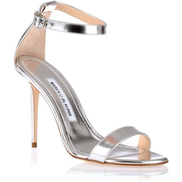 f1e2c923233 Manolo Blahnik Chaos 105 silver leather sandal ($765) ❤ liked on ...