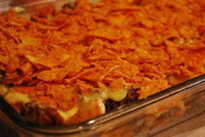 layered taco casserole with doritos | Kiki's Corner: Mom's Taco Casserole