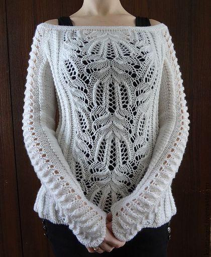 Купить или заказать 'Белоснежность' в интернет-магазине на Ярмарке Мастеров. 'Белоснежность' - шикарный белоснежный джемпер крупной вязки с открытыми плечами.