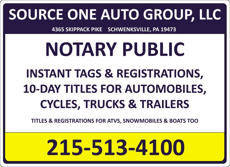 Full service fast tag notary service at source one auto