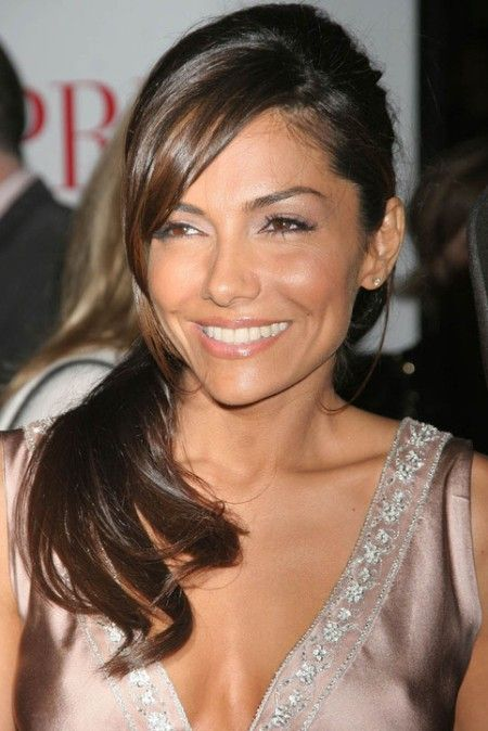 Vanessa Marcil - low ponytail & cute side swept bangs