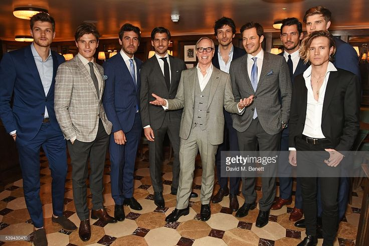 Jim Chapman, Oliver Cheshire, Robert Konjic, Johannes Huebl, Tommy Hilfiger, Andres Velencoso, Paul Sculfor, David Gandy, Toby Huntington-Whiteley and Dougie Poynter attend a dinner hosted by Tommy Hilfiger and Dylan Jones to celebrate London Collections Men SS17 at Cafe Monico on June 11, 2016 in London, England.