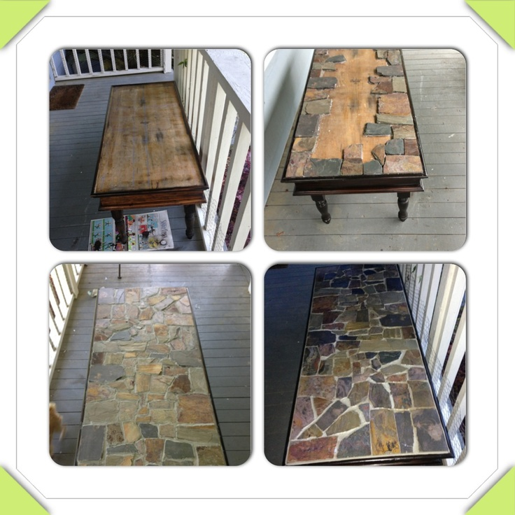 Broken Tile Coffee Table: Coffee Table My Dad Built In High School That I Redid. New