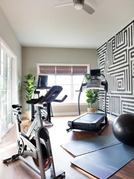 An exercise ball and yoga mats, in addition to the exercise machines, provide different ways to get a good, varied workout.