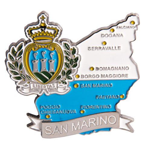 Metal Fridge Magnet: San Marino. Map of San Marino (Chrome Plating and Enamel)