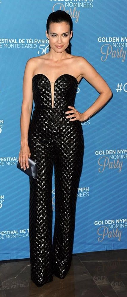 Actress Torrey DeVitto wearing CRISTALLINI at the Golden Nymph Nomenees Party at the 56th Monte-Carlo Television Festival.CRISTALLINI #EveningStyle #BlackStyle #Jumpsuit #RedCarpet #3DSequins