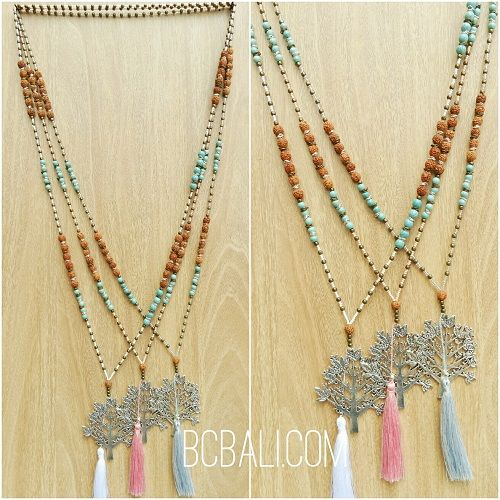 rudraksha tassels bead three colors pendant tree life bronze - rudraksha tassels bead three colors pendant tree life bronze silver necklaces