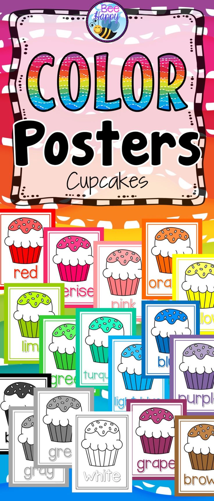 These bright, colorful posters are an essential addition to your classroom décor. They are a clear and simple reference for young learners starting to learn their colors or learning to read and write. Colors included: red, cerise, pink, orange, yellow, lime, green, turquoise, light blue, blue, purple, grape, brown, black gray/grey and white.