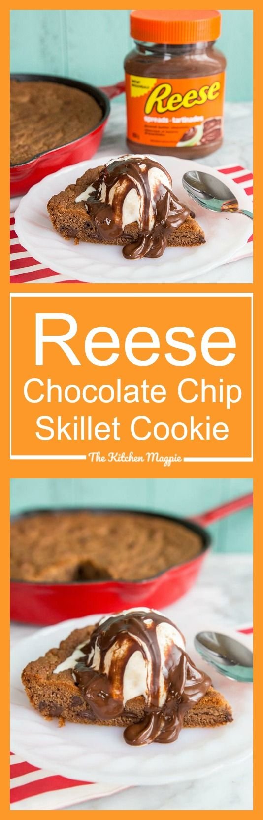 Reese Chocolate Chip Skillet Cookie