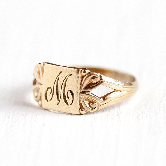 cb7e2231ab154 M Signet Ring - Art Deco 10k Rosy Yellow Gold Letter M Baby Band ...