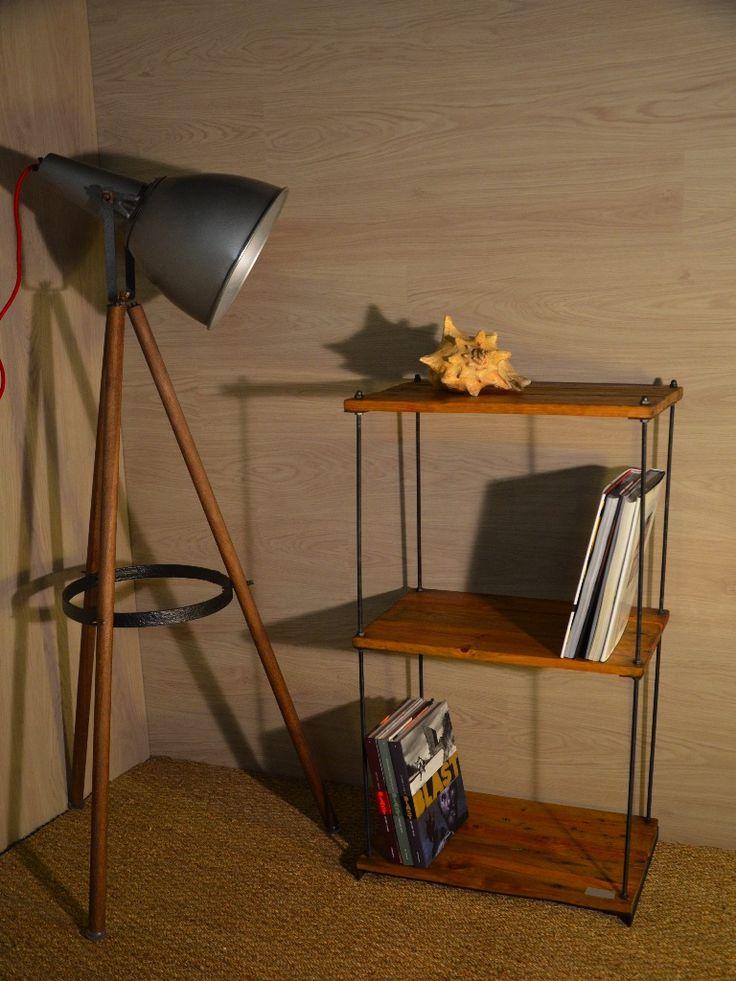 Tag re bois et m tal plateau central r glable mobilier industriel indus - Mobilier industriel loft ...