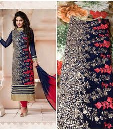 Buy blue georgette embroidered semi_stitched salwar party-wear-salwar-kameez online