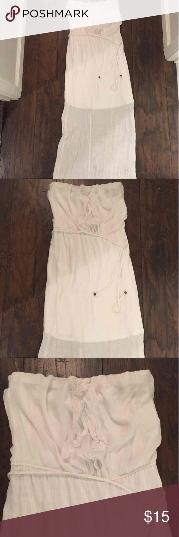 White tube top maxi dress From Maurice's. Like new, no tags! Sheer with mini slip underneath. Perfect white dress for any occasion; summer beach wear! Maurices Dresses Maxi