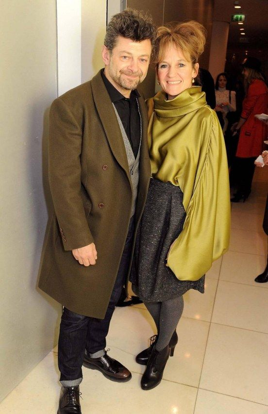 The brilliant Andy Serkis with his wife Lorraine Ashbourne (whose brilliant outfit is partly the reason I pinned this!)